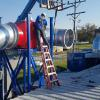 "Installing 38"" diameter welded pipe for a dust collection system."
